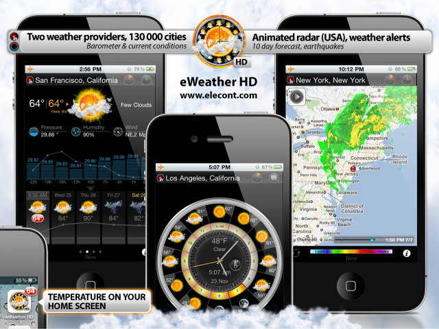 eweather hd, radar, weather forecast, alerts, earthquakes and weather widget for iPhone, iPod, iPad, iOS 4, iOS 5