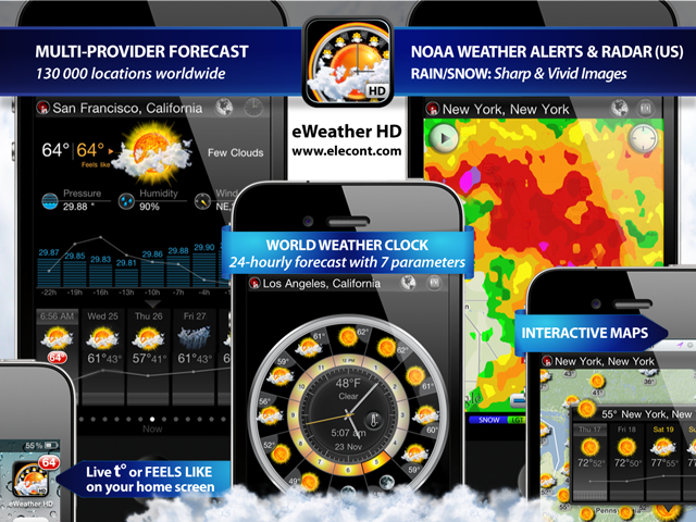 eweather hd, radar, weather forecast, alerts, earthquakes and weather widget for iPhone, iPod, iPad, iOS 7