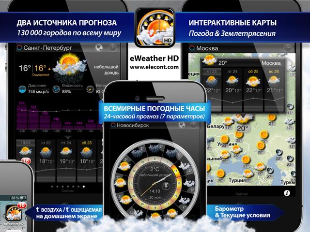 Лучший прогноз погоды, погода для iPhone и iPad, прогноз погоды для России, Москвы, Санкт Петербурга и области