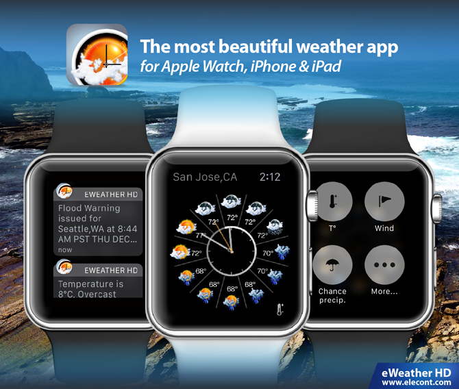 eweather hd weather app for apple watch, watchos, uv index, humidity, feels like temperature, chance of precipitation, wind speed, direction, geomagnetic activity, weather station on your apple watch