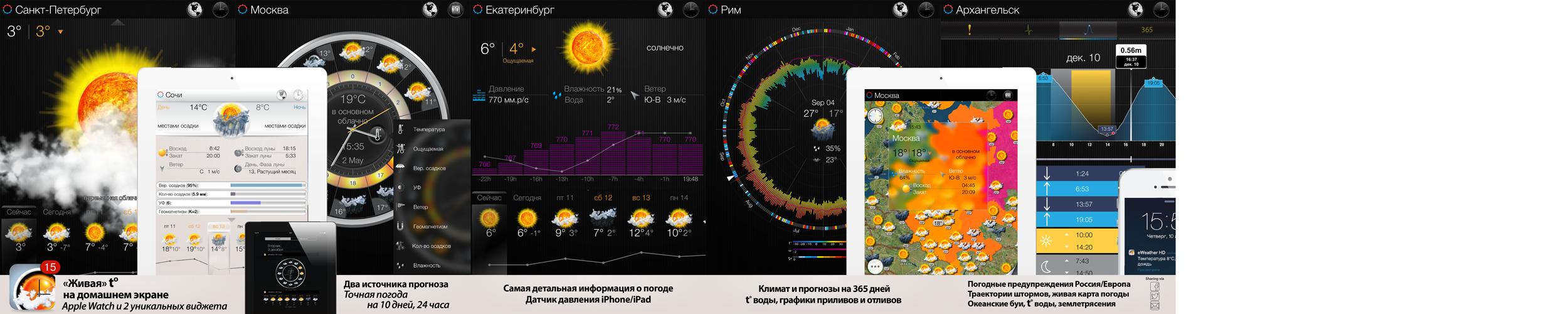 Прогноз погоды, погода для России, Москва, Санкт-Петербург iPhone, iPad, Apple Watch