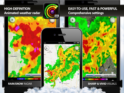 high-resolution and high-definition animated doppler weather radar for Apple iPhone, iPad, iPod touch and iOS