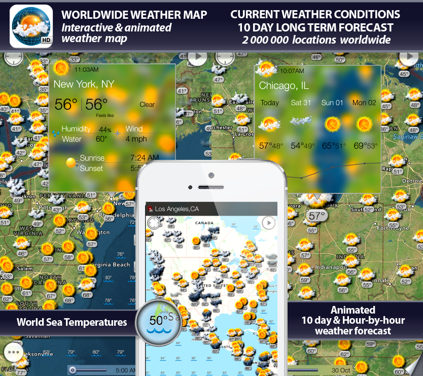 world weather map app, sea surface temperatures, radar, weather forecast, alerts, earthquakes and weather widget for iPhone, iPod, iPad, iOS 7, iOS 8, Android